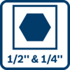 "2-in-1 bit holder – for even more applications combining 1/2"" square and 1/4"" hexagon"