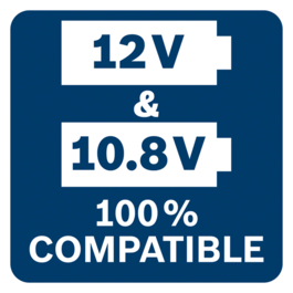 All Bosch Professional 10.8V tools, batteries & chargers are 100% compatible with all Bosch Professional 12V tools, batteries & chargers